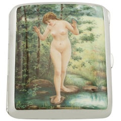 1902 Antique Edwardian Sterling Silver and Erotica Enamel Cigarette Case