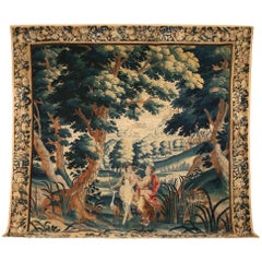 Substantial Antique Flemish Tapestry Featuring Figures and Castle