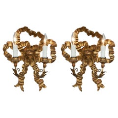 Louis XVI Style Antique Gold Bow Sconces