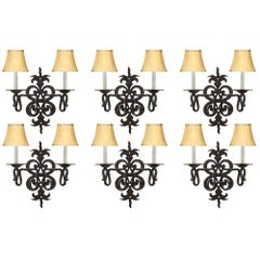 Set of Six French 19th Century Country Style Wrought Iron Sconces