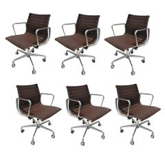Set of Six Herman Miller Eames Aluminium Group Desk Chairs