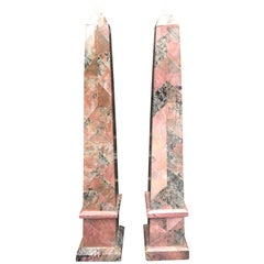 Pair of 20th Century Italian Large Pink Marble Obelisks