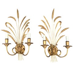Pair of 20th Century Italian Gilded Wood or Tole Wheat Sconces
