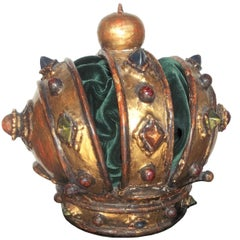 Carved Giltwood Jeweled Crown Altar Fragment