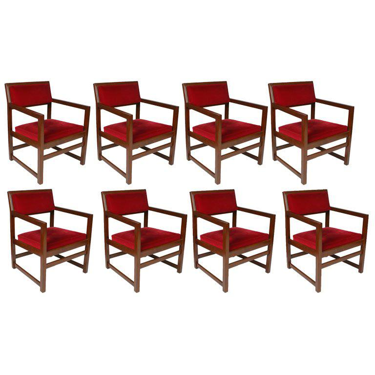 Set of Eight Edward Wormley for Dunbar Dining Armchairs
