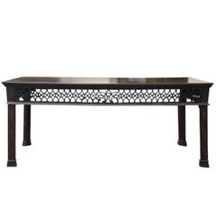 19th Century English Pierced Fretwork Mahogany Serving Table