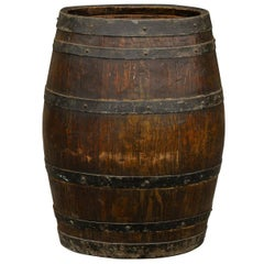 Rustic English Wooden Barrel with Metal Straps from the Late 19th Century