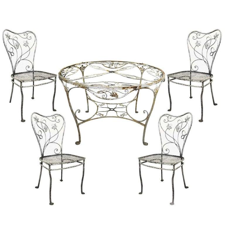 Art Nouveau 5 Pc Wrought Iron Patio Dining Set Round Table 4 Chair Salterini