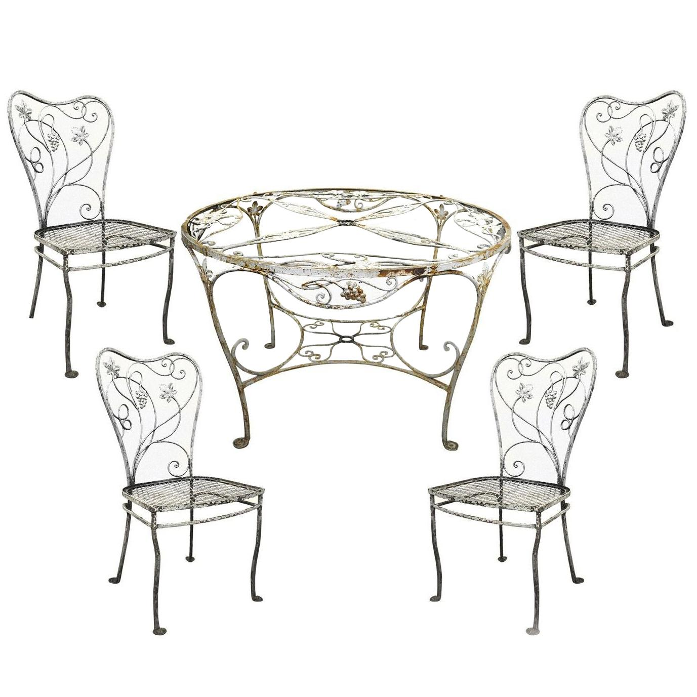 Art Nouveau 5 Pc Wrought Iron Patio Dining Set Round Table 4 Chair  Salterini For Sale