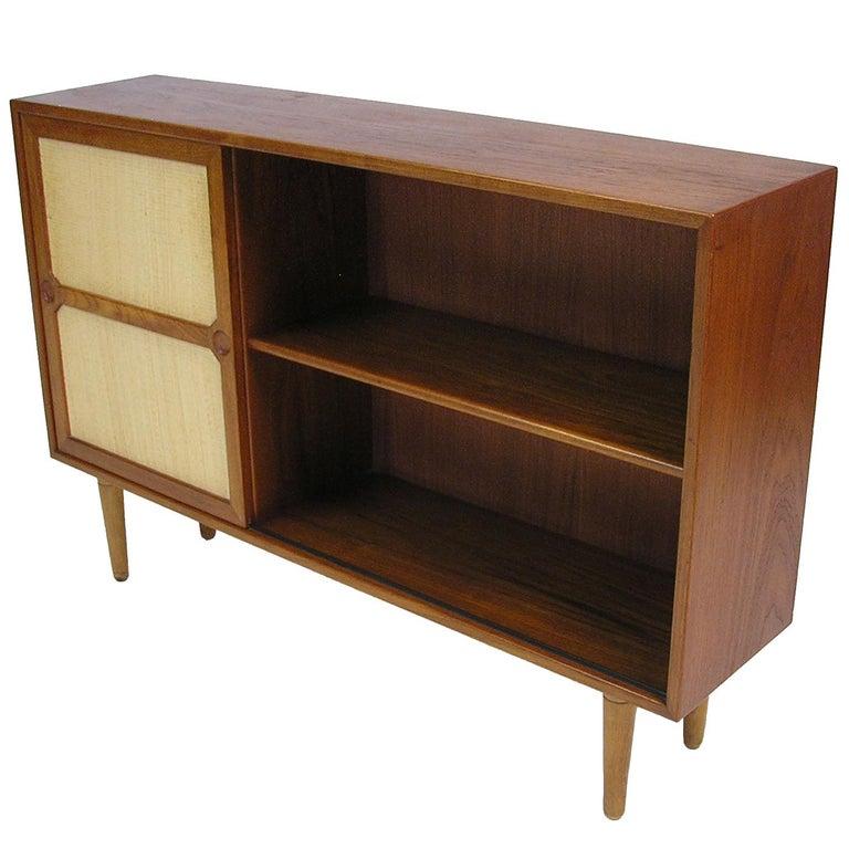 Rare Danish Modern Teak and Seagrass Bookshelf Cabinet, circa 1950s