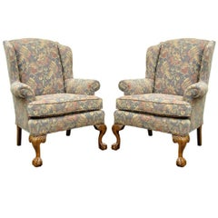 Pair of Vintage American of High Point Chippendale Ball & Claw Wing Back Chairs