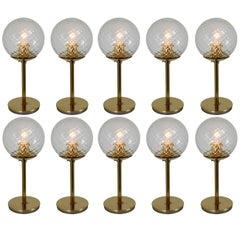 Set of Ten Mid-Century Modernist Brass Table Lamps with Structure Glass, 1970s