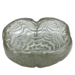 Gold and White Murano Glass Bowl, circa 1950
