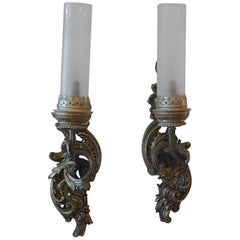 Two French One Light Bronze Sconces with Frosted Glass Funnel like Shades