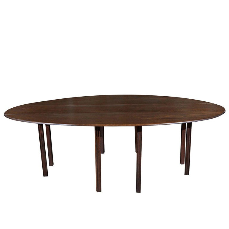 English Drop-Leaf Oval Dining Table
