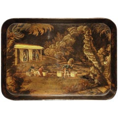 19th Century Papier Mache Tray with Chinoiseries Scene