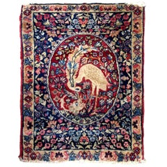 Handmade Antique Persian Kerman Lavar Rug, 1880s