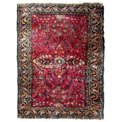 Handmade Antique Persian Sarouk Rug, 1920s