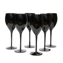 Six Black Elegant Glasses by Zbigniew Horbowy, Poland, 1970s