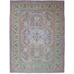 Antique Amritsar Carpet, India, Soft Pink Tones