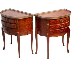 Pair of Louis XV Marquetry Side Tables with Cocktail Gallery and Ormolu