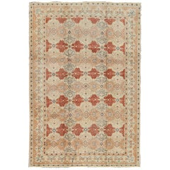 Fine Turkish Sivas Rug in Rust, Salmon, Cream and Navy Blue Outlines