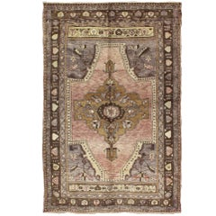 Unique Turkish Rug in Gray, Pink, Gold, Purple, Lavender and Brown