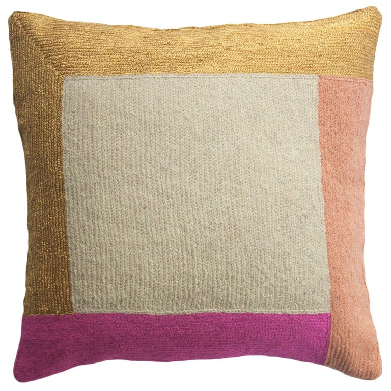 Nia Square Hand Embroidered Modern Geometric Throw Pillow Cover