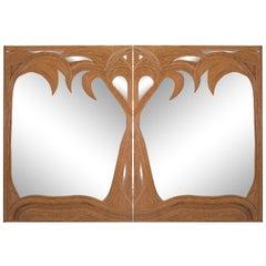 Bamboo Palmtree Mirrors, Set of Two