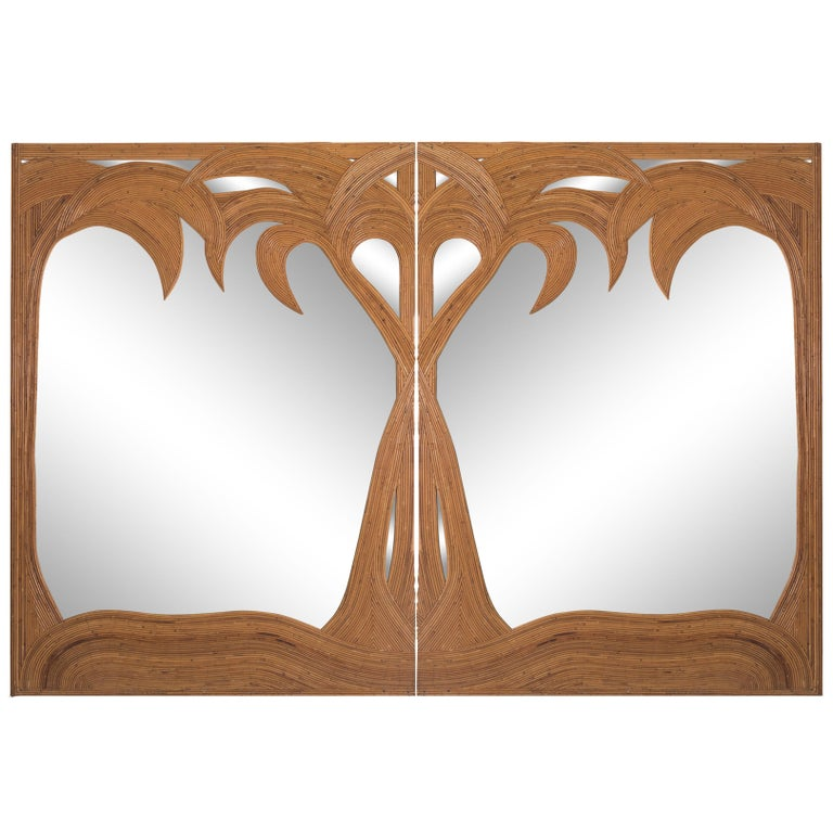 Vivai del Sud pair of Bamboo Palmtree Mirrors, Italy - 1970's