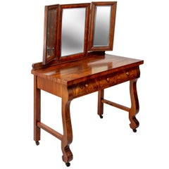 1903 Marvel Bevelled Three Mirror Oak Vanity
