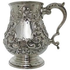 Late 19th Century Sterling Silver Pint Mug by Walker & Hall, Sheffeild