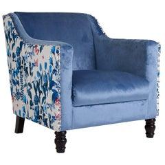 White and Blue Velvet Armchair