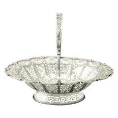Sterling Silver Cake Basket, Antique Victorian