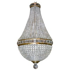 French Bronze and Crystal Basket Chandelier, circa 1910