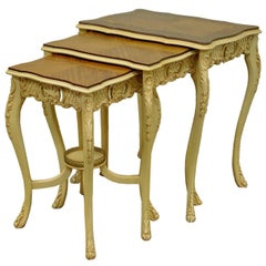 Three Vintage Louis XV Carved Satinwood Inlaid Nest of Nesting Side Tables