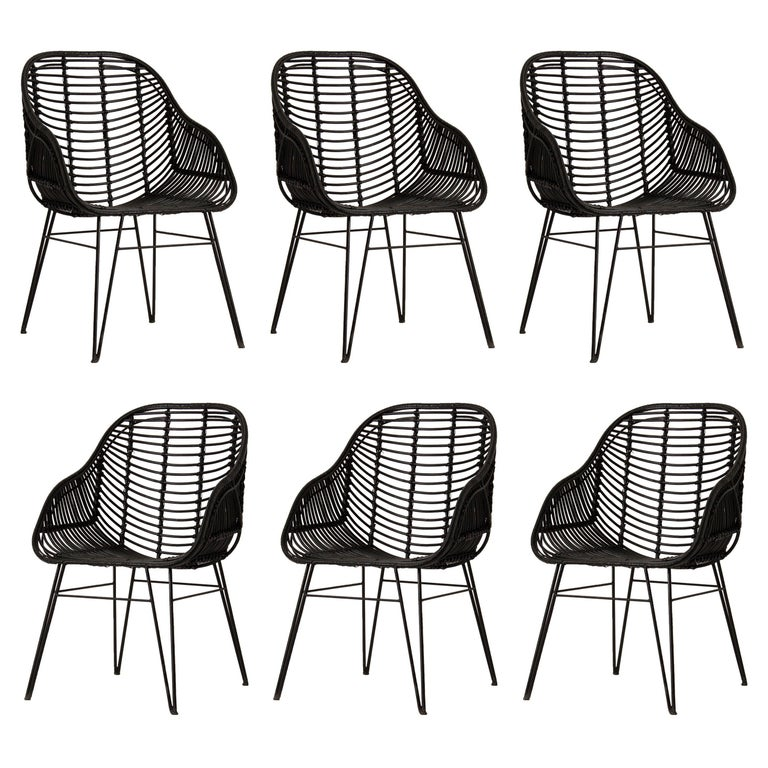 Set of Six Black Rattan and Black Metal Armchairs Midcentury Style