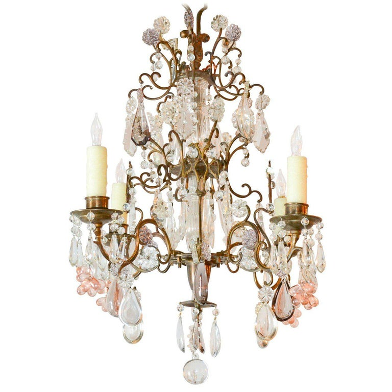 Antique French Bronze and Crystal Chandelier