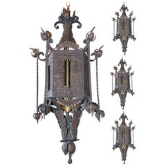 Early 20th Century Set of Four Spanish Tole Lanterns