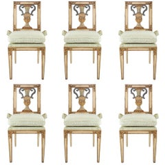 Set of Six Italian Early 19th Century Louis XVI Style Dining Chairs