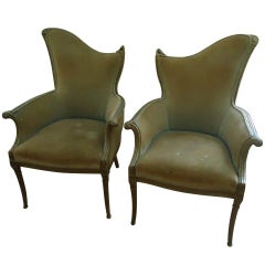 Pair of French Art Deco Velvet Armchairs