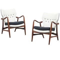 Rare Ib Madsen & Acton Schubell Wing Back Lounge Chairs for Schubell & Madsen