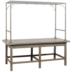 European Zinc-Top Kitchen Work Table with Upper Rack