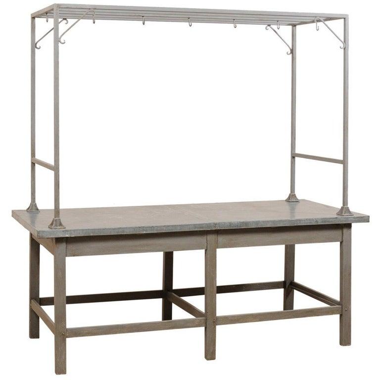 European Zinc-Top Kitchen Work Table with Upper Rack