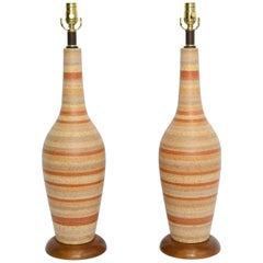 Sleek 1950s Italian Tall Glazed Pottery Table Lamps