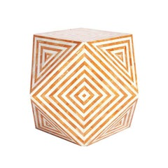 Aelife Modern Inlayed Bone Striped Mirah Geometric Cube Table Orange