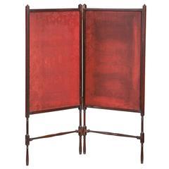 George III Period Mahogany Two-Fold Hinged Screen