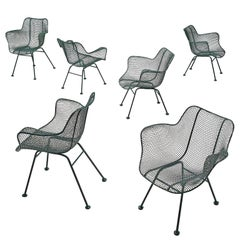 Russell Woodard Set of Six Dark Green 'Sculptura' Chairs