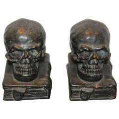Bronze Skull on Books Bookends, 1920