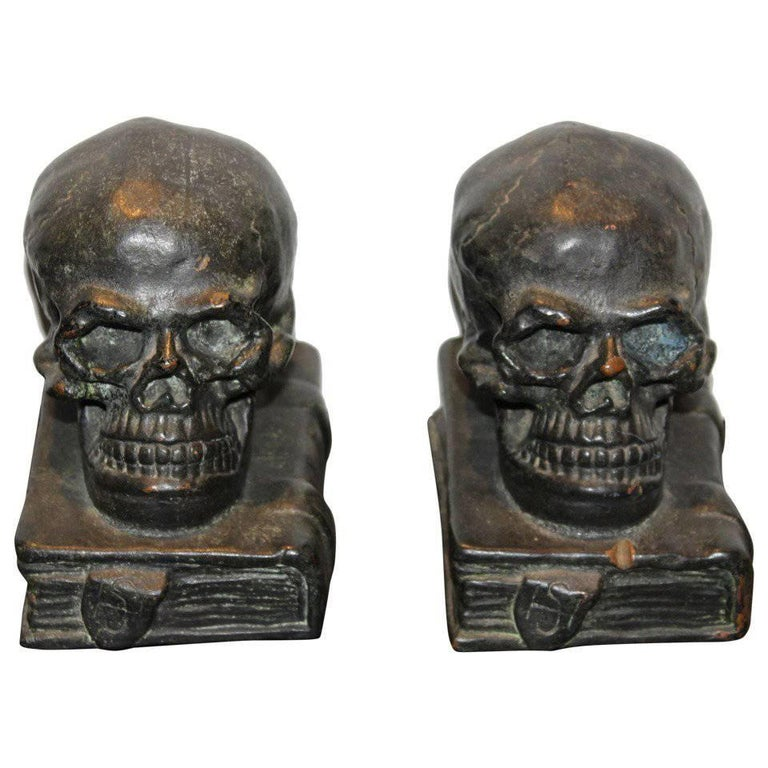 Bronze Skull on Books Bookends, 1920 For Sale